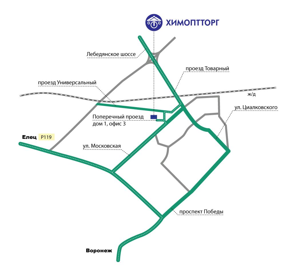 Схема проезда в Липецке.